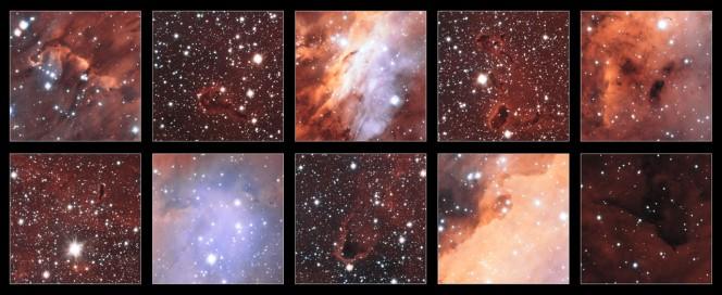 Questa raccolta di frammenti mostra i primi piani di alcune delle più strane e spettacolari strutture visibili nell'intrico luminoso di nubi di gas che formano l'enorme incubatrice stellare nota come Nebulosa Gambero. (Crediti: ESO. Acknowledgement: Martin Pugh)