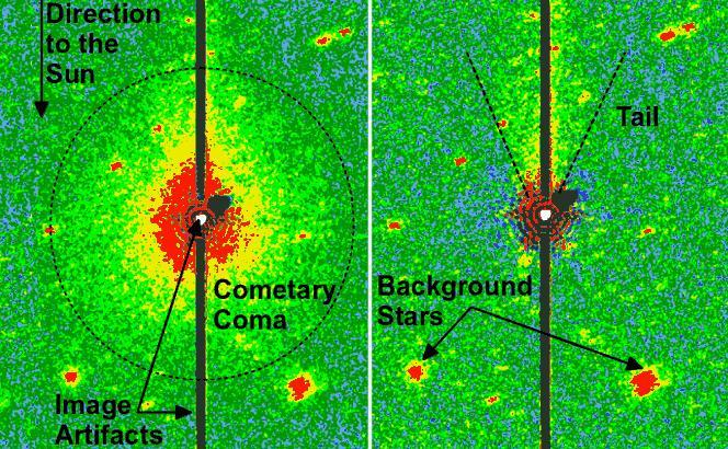 Nell'immagine si può notare a sinistra la chioma e la coda della cometa 3552 Don Quixote vista da Spitzer agli infrarossi. A destra, dopo aver processato l'immagine, la coda è più evidente. (Crediti: NASA/JPL-Caltech/DLR/NAU)