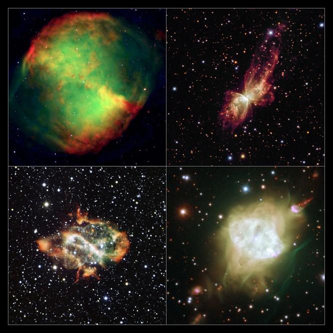 Una galleria di ritratti per le nebulose planetarie bipolari. Gli oggetti sono: in alto a sinistra: Nebulosa Manubrio, o Messier 27, in alto a destra: NGC 6302; in basso a sinistra: NGC 5189 e in basso a destra: Fleming 1.