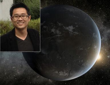 L'astrofisico Kevin Heng dell'Università di Berna e una rappresentazione artistica NASA di un esopianeta.