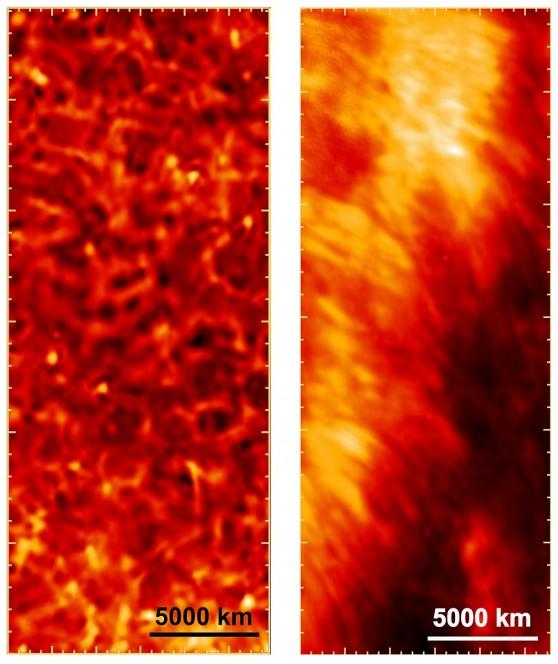 Due immagini della cromosfera catturate dall'osservatorio solare su pallone Sunrise. A sinistra si può osservare una conformazione tipica, zone scure circondate da bordi chiari. In quella a destra si vedono delle striature chiare ai margini di una più scura macchia solare. Crediti: MPS