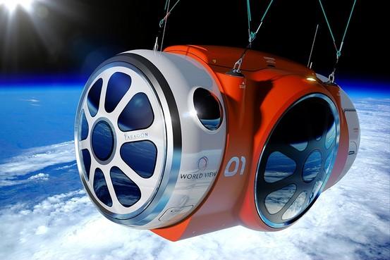 Un rendering della gondola pressurizzata costruita dalla Paragon Space Development Corp. per trasportare fino a 8 passeggeri nello spazio. Crediti: World View Enterprises