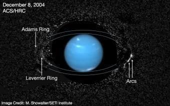Nettuno e il suo sistema. L'anello più esterno, Adams, mostra due segmenti distinti più chiari (archi) sulla destra di Nettuno. Le 26 osservazioni usate per comporre questa immagine sono state ottenute nel dicembre 2004 dallo High Resolution Channel della Advanced Camera for Surveys a bordo del telescopio spaziale Hubble. L'immagine centrale di Nettuno, occultata nelle osservazioni precedenti, è stata invece ripresa un mese più tardi. Crediti: M. Showalter / SETI Institute