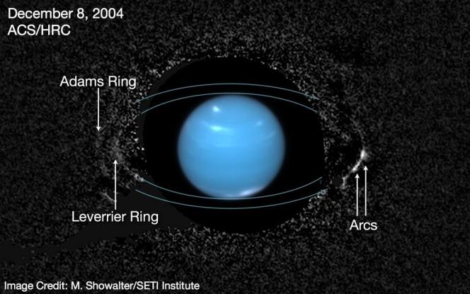 L'anello più esterno, Adams, mostra due segmenti distinti più chiari (archi) sulla destra di Nettuno. Le 26 osservazioni usate per comporre questa immagine sono state ottenute nel dicembre 2004 dallo High Resolution Channel della Advanced Camera for Surveys a bordo del telescopio spaziale Hubble. L'immagine centrale di Nettuno, occultata nelle osservazioni precedenti, è stata invece ripresa un mese più tardi. Crediti: M. Showalter / SETI Institute
