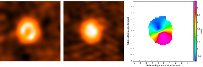 Nell'immagine ALMA a sinistra è mostrata l'emissione di freddi grani di polvere, disposti ad anello attorno la stella centrale; in quella di mezzo l'emissione del monossido di carbonio, che mostra come il gas si trovi anche più in prossimità della stella rispetto alla polvere. L'immagine a destra rappresenta la velocità del gas: le parti blu del disco muovono verso di noi, mentre quelle rosse si allontanano. Crediti: Á. Kóspál (ESA), A. Moór (Konkoly Observatory)