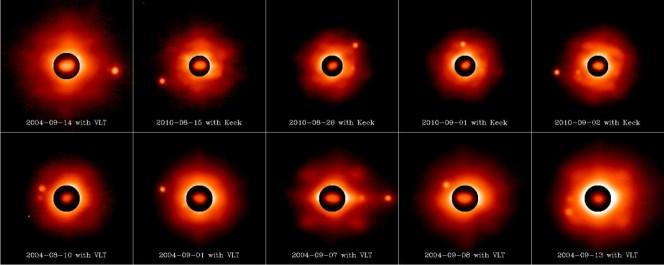 Silvia e le sue lune come osservati in vari momenti dai telescopi Keck e VLT con attica adattiva. Il cerchio nero mostra la forma irregolare dell'asteroide. Crediti: Franck Marchis