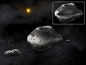 Rappresentazione artistica dell'asteroide Silvia e dei suoi due satelliti, Romolo e Remo. Credit: Danielle Futselaar / SETI Institute