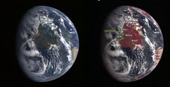 L'immagine della Terra a sinistra è in luce visibile. In quella a sinistra è stata enfatizzata la componente del vicino-infrarosso, che evidenzia le zone con vegetazione. Crediti: NASA/Johns Hopkins University Applied Physics Laboratory/Carnegie Institution of Washington