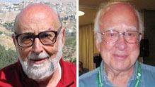 Francois Englert (a sinistra) e Peter Higgs, i vincitori del Nobel per la Fisica 2013