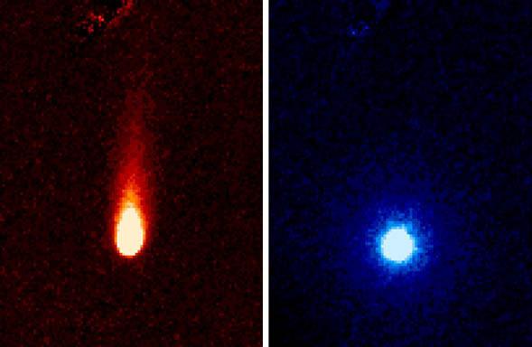La cometa ISON fotografata da Spitzer il 13 giugno 2013, in due diversi filtri dell'infrarosso (i colori rosso e blu sono stati scelti in modo arbitrario per sottolineare le diverse componenti della cometa). Crediti NASA/JPL-Caltech/JHUAPL/UCF