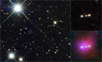 In questa immagine composita si vede la struttura di Himiko, un oggetto che rappresenta la fusione di tre giovani, galassie molto luminose nell'universo primordiale. Crediti: NASA/Hubble; NASA/Spitzer; NAOJ/Subaru