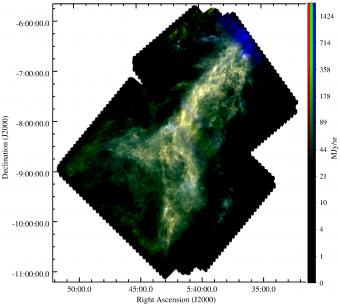 Immagine a colori da Herschel della nube   L1641 nella costellazione di  Orione