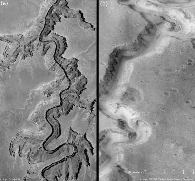 In questa immagine è stato messo a paragone una sezione del Grand Canyon in Arizona (USA) e una sezione della Nanedi Valles su Marte (sulla destra), larga circa 2,5 km. Crediti: Penn State University
