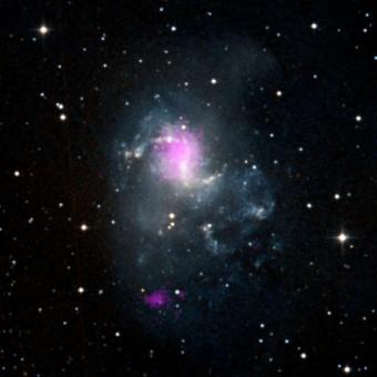 I punti viola in quest'immagine mostrano due buchi neri nella galassia NGC 1313, entrambi appartenenti alla categoria delle ULX, le sorgenti X ultraluminose. Il buco nero più vicino al centro galattico è stimato tra le 70 e le 100 masse solari, l'altro attorno alle 30. I dati sono stati ottenuti con il telescopio spaziale NuSTAR della NASA e sovraimposti a un'immagine della galassia della Digitized Sky Survey. Crediti: NASA/JPL-Caltech/IRAP