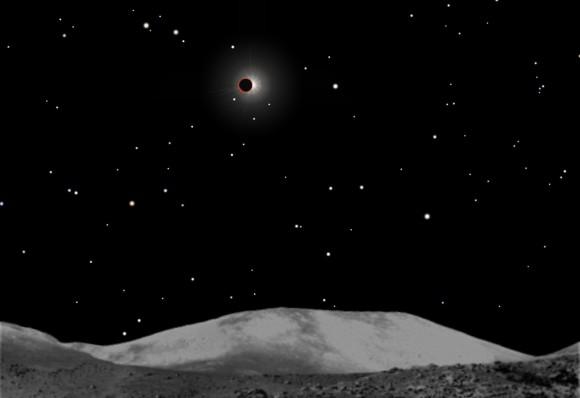 La Terra che eclissa il Sole, vista da Yutu sulla Luna. Accadrà il prossimo 15 aprile.