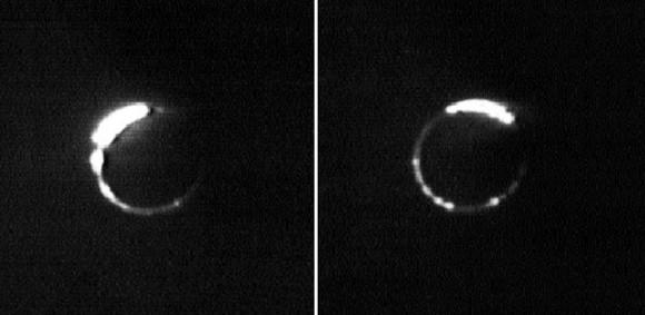 Eclissi lunare vista dalla Terra: il satellite copre quasi totalmente il disco solare. Crediti: Nasa