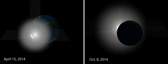 Simulazione dell'eclissi di Sole vista dalla Luna