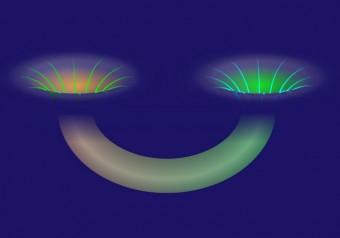 Due buchi neri collegati da un wormhole. Crediti: Alan Stonebraker / American Physical Society
