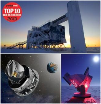 I tre esperimenti di astrofisica presenti fra i dieci della top ten di Physics World. Dall'alto, in senso orario: IceCube, il South Pole Telescope e Planck