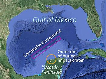 Questa mappa mostra il Golfo del Messico, la scarpata di Campeche e il cratere da impatto ormai sepolto. Immagine da Google Earth