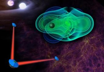 Visione artistica dell'interferometro spaziale eLISA, dedicato alla rivelazione delle onde gravitazionali. Crediti: eLISA consortium