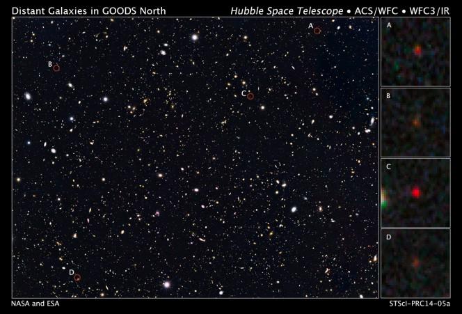 Le quattro galassie (in rosso) ottenute da Hubble come dovevano apparire 500 milioni di anni dopo il big bang. Crediti: NASA/ESA/Illingworth,Oesch,UC-SC/Bouwens, Labb,Leiden U.