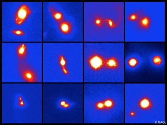 Esempi di immagini in banda K di galassie luminosse e ricche di gas che collidono. La dimensione dell'immagine è di 10 secondi d'arco. I singoli scatti mostrano chiaramente gli aspetti del processo di fusione, come ad esempio l'interazione dei due nuclei delle galassie. Crediti: Osservatorio astronomico del Giappone