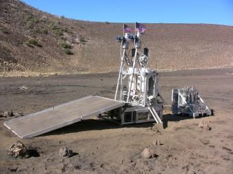 Il test di un prototipo chiamato ROXYGEN per l'estrazione di ossigeno dal suolo. Crediti: NASA