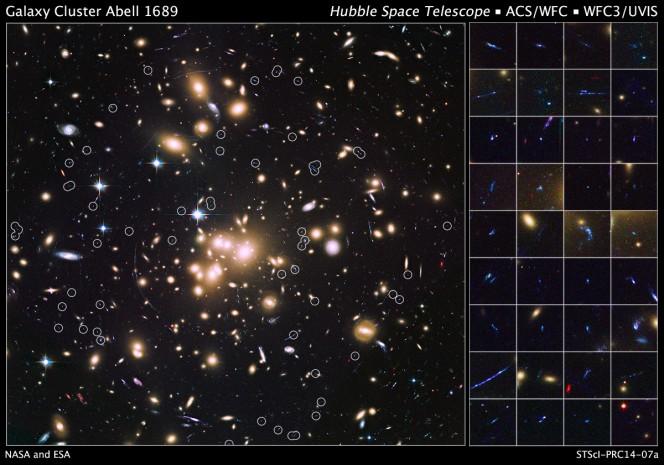 Le 58 galassie remote ottenute grazie all'ammasso di galassie Abell 1689. Crediti: NASA/ESA/B.Siana, A.Alavi, UC Riverside