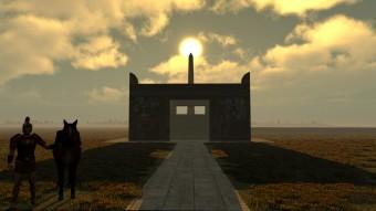 Simulazione al computer del Sole in cima l'obelisco, con l'Ara Pacis in primo piano. Crediti: Virtual World Heritage Laboratory, Indiana University e IDIA Lab, Ball State University