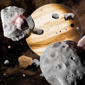 Riproduzione artistica di Giove circondato da asteroidi. Crediti: David A. Aguilar (CfA)