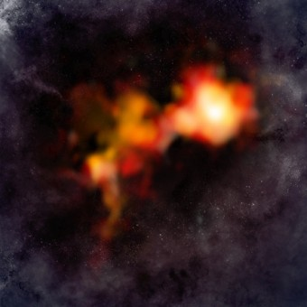 Due nuclei sull'orlo di una formazione stellare. Credit: Bill Saxton & Alexandra Angelich (NRAO/AUI/NSF); ALMA (ESO/NAOJ/NRAO)