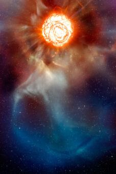 Una rappresentazione artistica di Betelgeuse e del suo inviluppo di gas. Crediti: ESO/L. Calçada