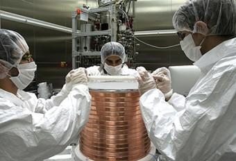 Il nucleo del rivelatore di materia oscura di DarkSide durante una fase di assemblaggio. Crediti: Peter Meyers