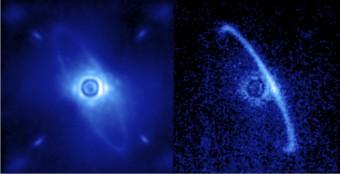 Un'altra immagine ottenuta durante le osservazioni di prima luce di GPI. Qui è visibile il disco di polveri presente attorno alla giovane stella HR4796A, che si ritiene dovuto ad astroidi o comete, i 'residui' del processo di formazione planetaria in corso nell'ambiente che circonda l'astro. Nel pannello a sinistra è visibile tutta la luce raccolta dallo strumento (tra 1.9 e 2.1 micron), sia quella emessa dall'anello che quella residua proveniente dalla stella centrale diffusa dalla turbolenza atmosferica terrestre. A destra invece è visibile solo la radiazione polarizzata. crediti: Marshall Perrin, Space Telescope Science Institute