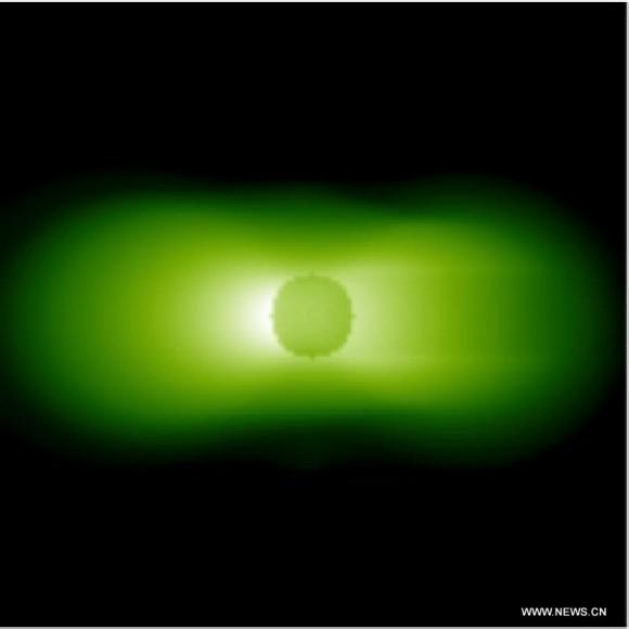 Ripresa agli ultravioletti della plasmasfera, la parte della magnetosfera più interna e quindi più vicina alla Terra. Crediti: Chinese Academy of Sciences