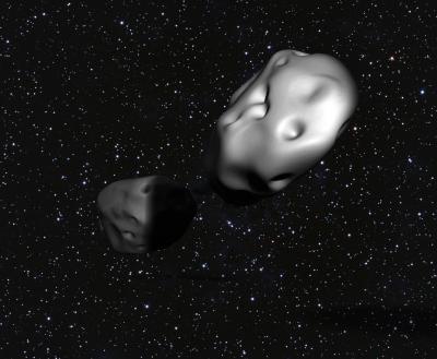 L'asteroide binario 3905 Doppler. Crediti: illustrazione di Loretta Kuo