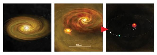 La formazione di un sistema binario di stelle inizia dalla frammentazione, causata dalla sua stessa gravità, del disco di accrescimento attorno a una giovane stella. Una seconda stella, circondata dal proprio disco, si genera all'interno del disco principale, dando origine a una coppia orbitante. 100 Unità Astronomiche (AU) equivalgono circa al diametro del nostro Sistema Solare. Crediti: Bill Saxton, NRAO/AUI/NSF