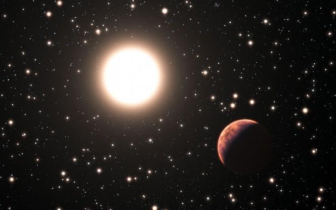 Rappresentazione artistica di un esopianeta in orbita intorno a una stella dell'ammasso Messier 67. Crediti: ESO/L. Calçada
