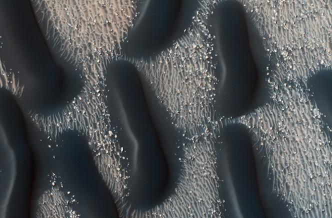 """Dune su Marte a forma di lumaca. È il classico esempio di """"duna a cupola"""", accumuli ellittici di materiale senza superfici di scorrimento. Queste cupole contrastano notevolmente con la comparsa delle dune di Barchan. Trovate nel Proctor Crater, queste dune sono più scure del fondo del cratere circostante e sono composte da sabbia basaltica che è stata trasportata dal vento. Crediti: NASA/JPL-CALTECH/UNIVERSITY OF ARIZONA"""