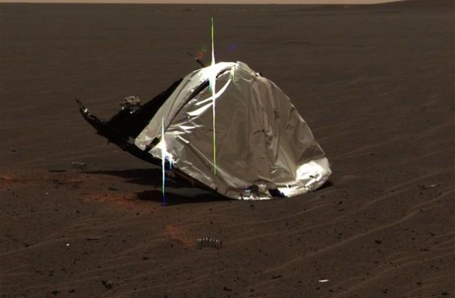 Lo scudo di Opportunity. Crediti: NASA/JPL-CALTECH