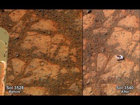 La roccia misteriosa accanto ad Opportunity. Le due foto della NASA: la prima scattata a dicembre 2013, la seconda qualche giorno dopo nella prima settimana di gennaio 2014