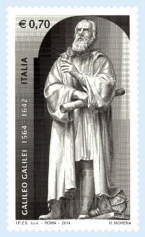 Il francobollo commemorativo emesso da Poste Italiane per la nascita di Galileo Galilei.