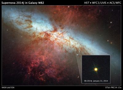 Immagine composita scattata dal telescopio di NASA/ESA Hubble: si vede la l'esplosione della supernova SN 2014J nella galassia M82. Scattata lo scorso 31 gennaio, l'immagine mostra, nel riquadro, anche la supernova nel 2006. Crediti: NASA, ESA, A. Goobar (Stockholm University), and the Hubble Heritage Team (STScI/AURA)