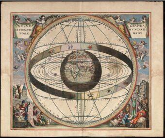 La Terra al centro del cosmo (Andreas Cellarius, Harmonia Macrocosmica, 1660-61).