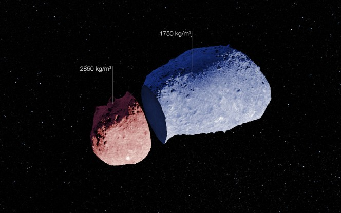 Schema dell'asteroide (25143) Itokawa. Crediti: ESO. Acknowledgement: JAXA