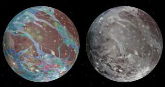 Il mosaico (a destra) è servito come base per la mappa geologica (a sinistra). Crediti: USGS