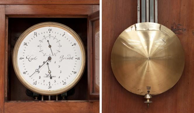 Nel quadrante dell'orologio è ben visibile la firma di Carlo Grindel.