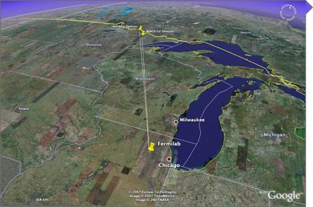 La distanza che percorrono i neutrini da Chicago al Minnesota