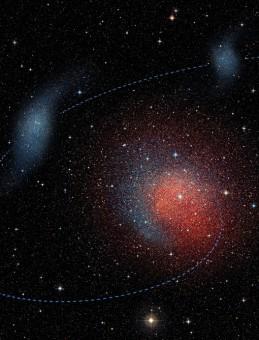Elaborazione artistica dello scontro tra le due galassie nane da cui è derivata Andromeda II. Crediti: N. C. Amorisco, M. Høst (Niels Bohr Institute) e ESO/Digitized Sky Survey 2